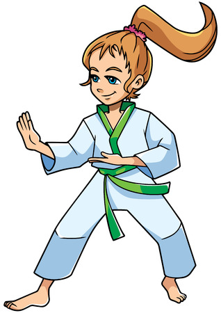 Full length illustration of a determined girl wearing karate suit and green belt while practicing martial arts for self-defense against white background for copy space.