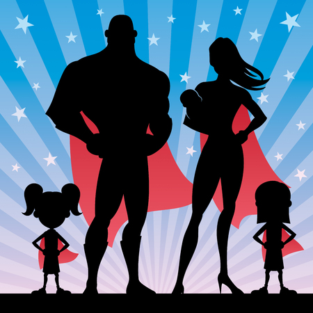 Superhero family of 5, with mom, dad, 2 girls and baby Illustration
