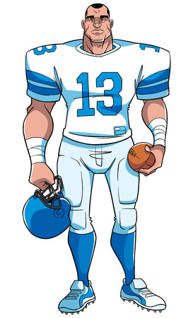 Full length front view of a determined and competitive American football player standing. Ready for the game against white background for copy space. Ilustração