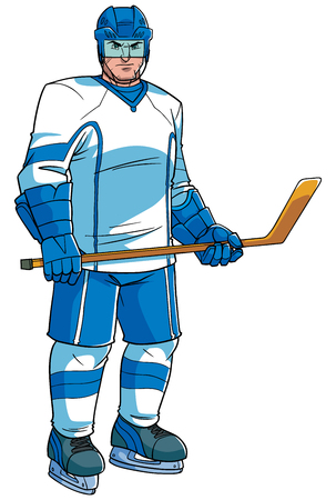 Full length illustration of a professional ice hockey player wearing skates while holding the hockey stick during game isolated on white background for copy space