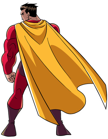 Full length rear view of a powerful superhero with yellow cape standing ready for action against white background with copy space.