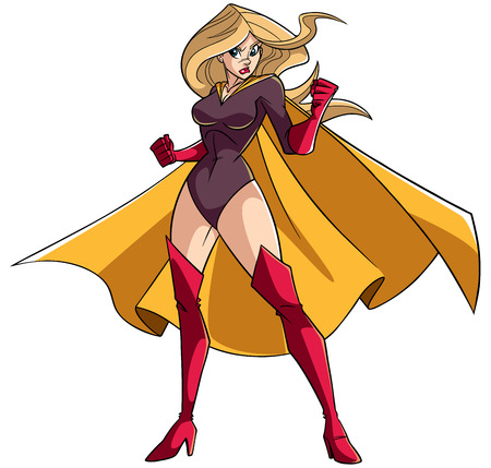 Full length illustration of a determined super heroine ready for battle wearing yellow cape isolated on white background.