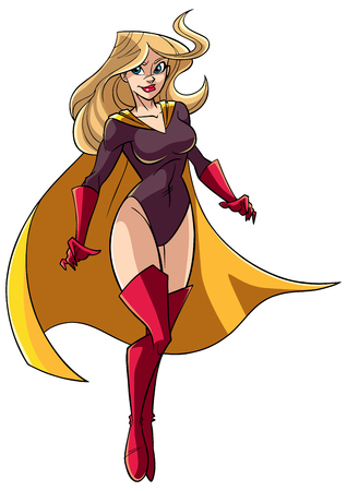 Full length illustration of a determined and powerful superheroine wearing yellow cape while flying during mission against white background for copy space