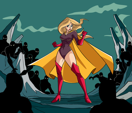 Full length illustration of a cartoon brave superheroine standing alone in confrontation with the forces of evil as concept for courage and positive power