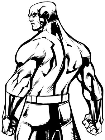 Line art illustration of powerful superhero standing ready for battle.