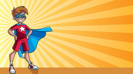 Illustration of super hero boy smiling happy while wearing blue cape against ray light background for copy space. Illustration