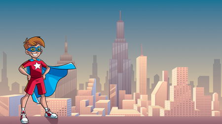 Illustration of a superhero boy smiling happy while wearing blue cape against city background as copy space.