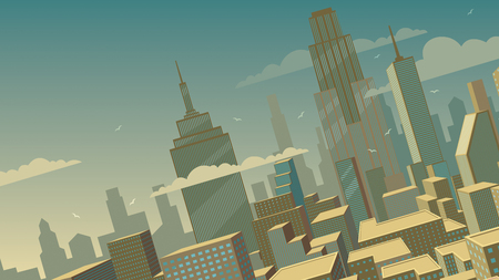Tilted cartoon cityscape background with comics city. Иллюстрация