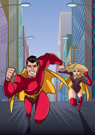 Cartoon illustration of superhero couple running fast through a city street, with the hero leading.
