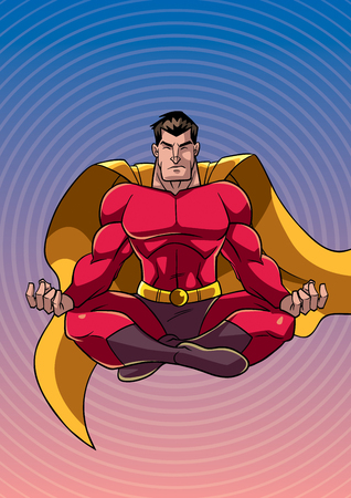 Front view illustration of meditating superhero on abstract background and some copy space.