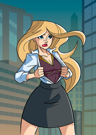 Illustration of businesswoman in city, revealing her true identity of powerful super heroine. Иллюстрация