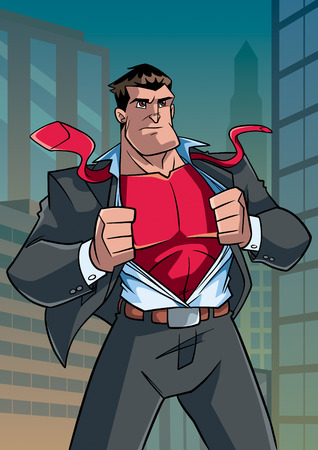 Illustration of businessman in city, revealing his true identity of powerful superhero.