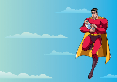 Full length illustration of happy superhero dad flying in the sky and holding his cute newborn baby in his arms.