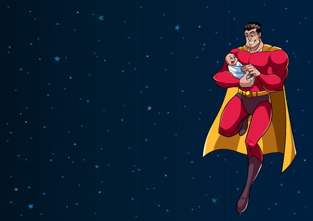 Full length illustration of happy superhero dad flying in the outer space and holding his cute newborn baby in his arms.