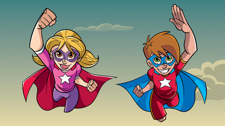 Illustration of happy super boy and super girl flying high in the sky side by side.