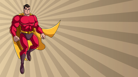 Full length illustration of happy cartoon superhero wearing cape and red costume while flying over abstract ray light background. Illustration