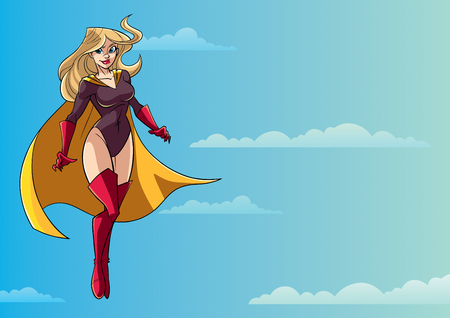Full length illustration of determined and powerful superheroine wearing yellow cape while flying during mission against sky background for copy space.