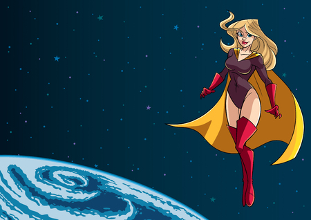 Full length illustration of determined and powerful superheroine wearing yellow cape while flying in the outer space during mission.