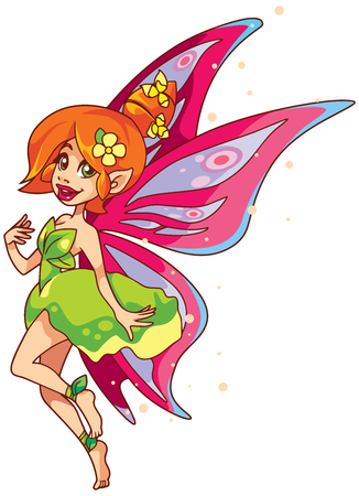 Illustration of happy cartoon fairy, flying with butterfly wings.