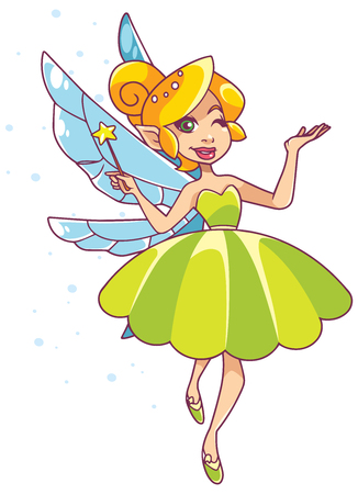 Illustration of happy cartoon fairy, flying on white background.
