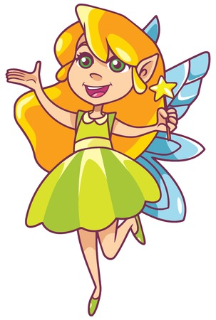 Illustration of happy little cartoon fairy, flying on white background.