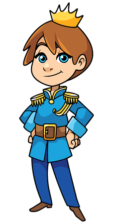 Illustration of happy little prince smiling on white background.