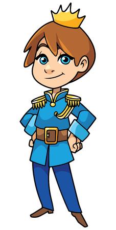 Illustrazione di felice piccolo principe sorridente su sfondo bianco.