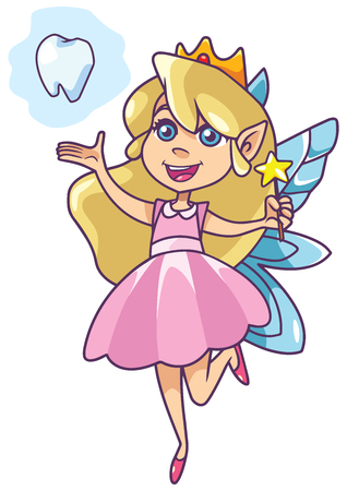 Illustration of happy little tooth fairy, flying on white background. Illustration