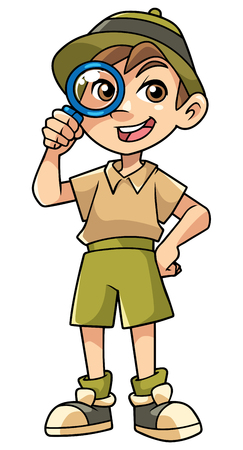 Cartoon illustration of happy little explorer with magnifier. Banco de Imagens - 103150633