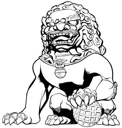 Hand drawn illustration of Chinese lion in black and white.