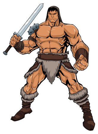 Comics style illustration of muscular barbarian warrior isolated on white background.