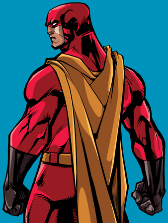 Comics style illustration of powerful superhero standing ready for battle.