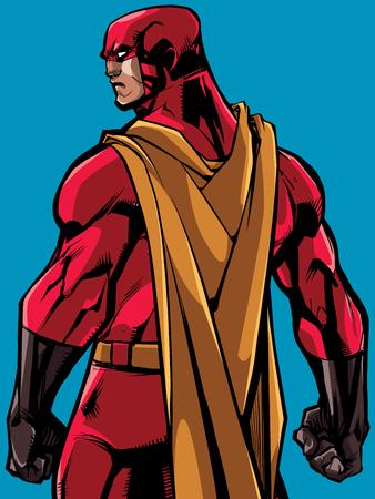 Comics style illustration of powerful superhero standing ready for battle. Illustration