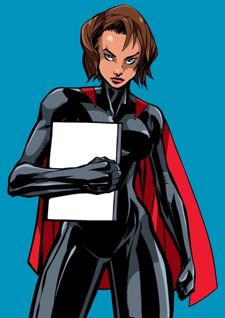 Illustration of powerful superheroine holding book, magazine or comics. You can use the copy space on the cover as you wish. 일러스트