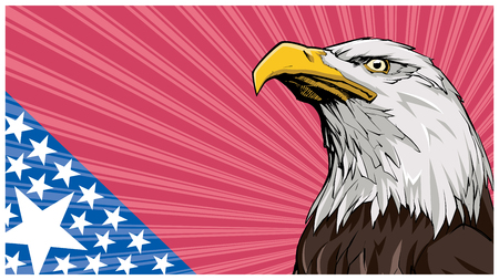 Illustration of North American Bald Eagle and abstract background reminding of the flag of the United States of America.