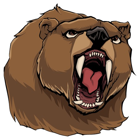 Hand drawn portrait of angry brown bear.