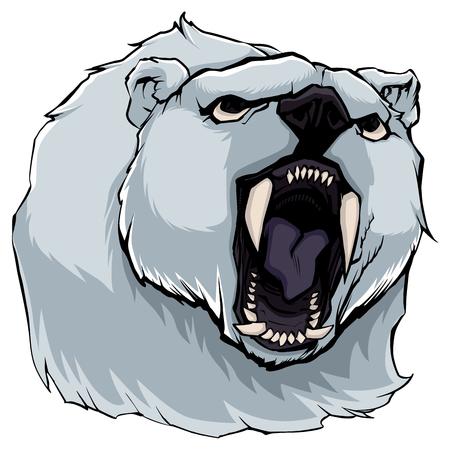 Hand drawn portrait of angry polar bear.