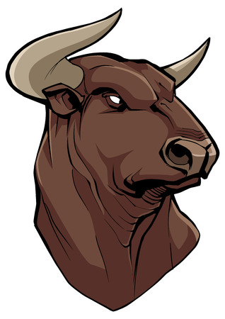 Hand drawn Illustration of a bull head.
