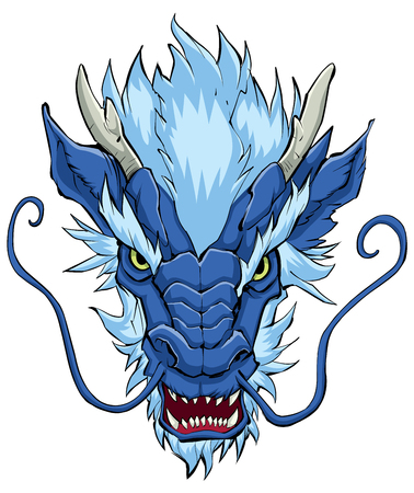 Hand drawn illustration of Chinese dragon in blue color.