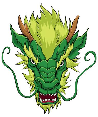 Hand drawn illustration of Chinese dragon in green. Иллюстрация