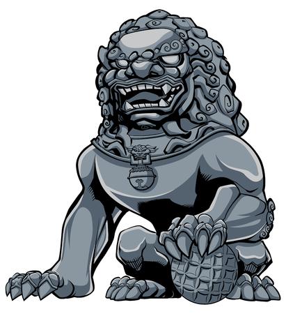 Hand drawn illustration of iron Chinese lion statue. Stock Illustratie