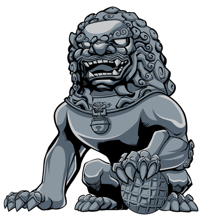 Hand drawn illustration of iron Chinese lion statue. Иллюстрация
