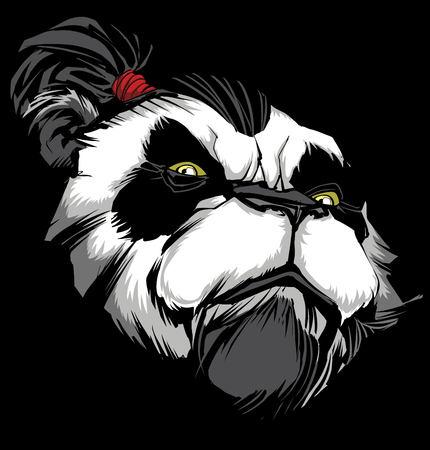 Hand drawn illustration of proud panda warrior on black background. Ilustração