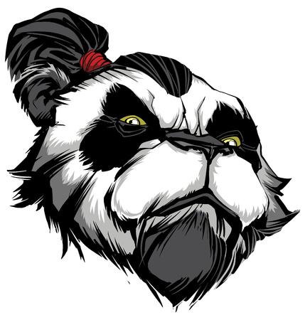 Hand gezeichnete Illustration des stolzen Panda-Kriegers.