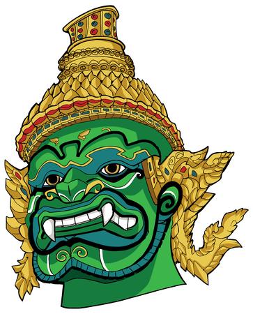 Ilustración de retrato dibujado a mano de un demonio tailandés.