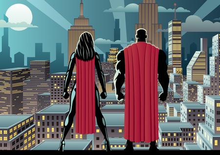 Superhero couple watching over the city at night. Vettoriali