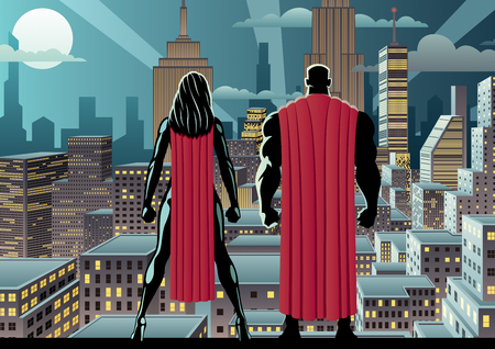 Superhero couple watching over the city at night. Ilustração