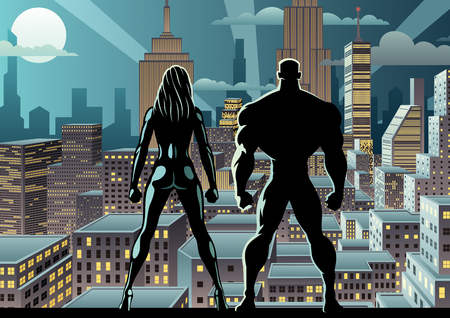 Superhero couple watching over the city at night.  イラスト・ベクター素材