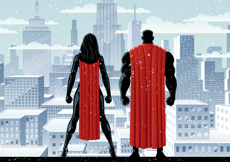 Superhero couple watching over the city in the snow.  イラスト・ベクター素材