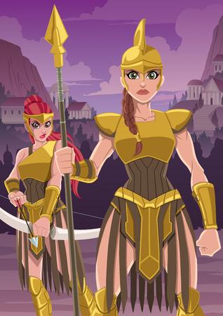 Cartoon illustrazione di feroci guerrieri Amazon pronti a difendere il loro insediamento.
